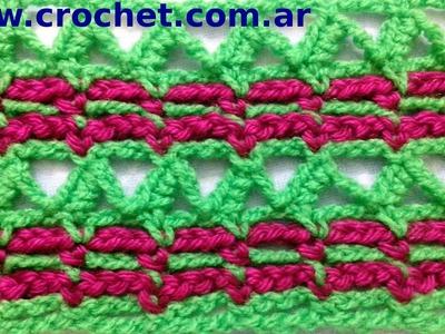 Punto fantasía N° 5 en tejido crochet tutorial paso a paso.