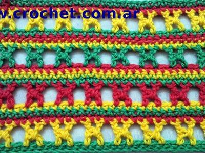 Punto fantasía N° 6 en tejido crochet tutorial paso a paso.