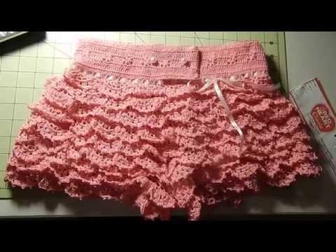 Short con vuelos a crochet por Rosario Soto