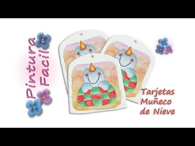 *Snowman Craft* Navidad Muñecos de Nieve 1 Manualidades de navidad 2014 Xmas Tags Pintura Facil