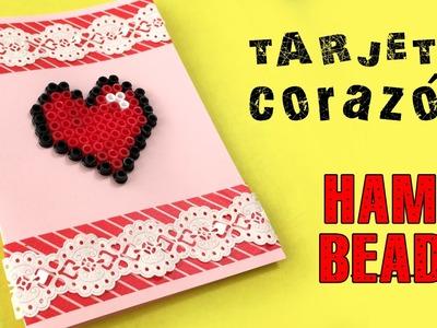 Tarjeta con corazón de hama beads * San Valentín
