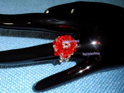 Tutorial de bisuteria - Anillo N°1 - Modelo Flor - Beading Tutorial