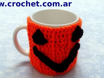 Cubre Taza Halloween en tejido crochet tutorial paso a paso.