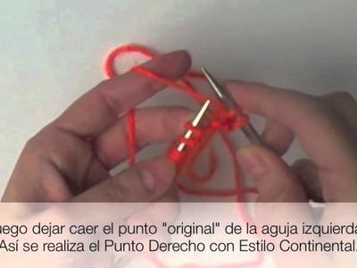 Tejer Punto Derecho Estilo Continental. Knit Continental Method