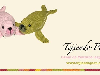 Foca tejida a crochet (amigurumi seal): aletas posteriores