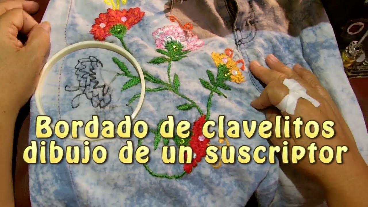 Bordado de clavelitos dibujo de un suscriptores  Creaciones y manualidades angeles