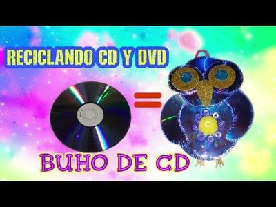 Búho de CD o DVD.  reciclando CD y DVD. manualidades de reciclado de CD'S y DVD.