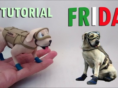 Como hacer a Frida la Perrita Rescatista en Porcelana fría. How to make a Polymer clay dog
