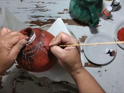 Como hacer jarrones étnicos de papel mache Manualidades , RECICLAJE, Ideas, diy,