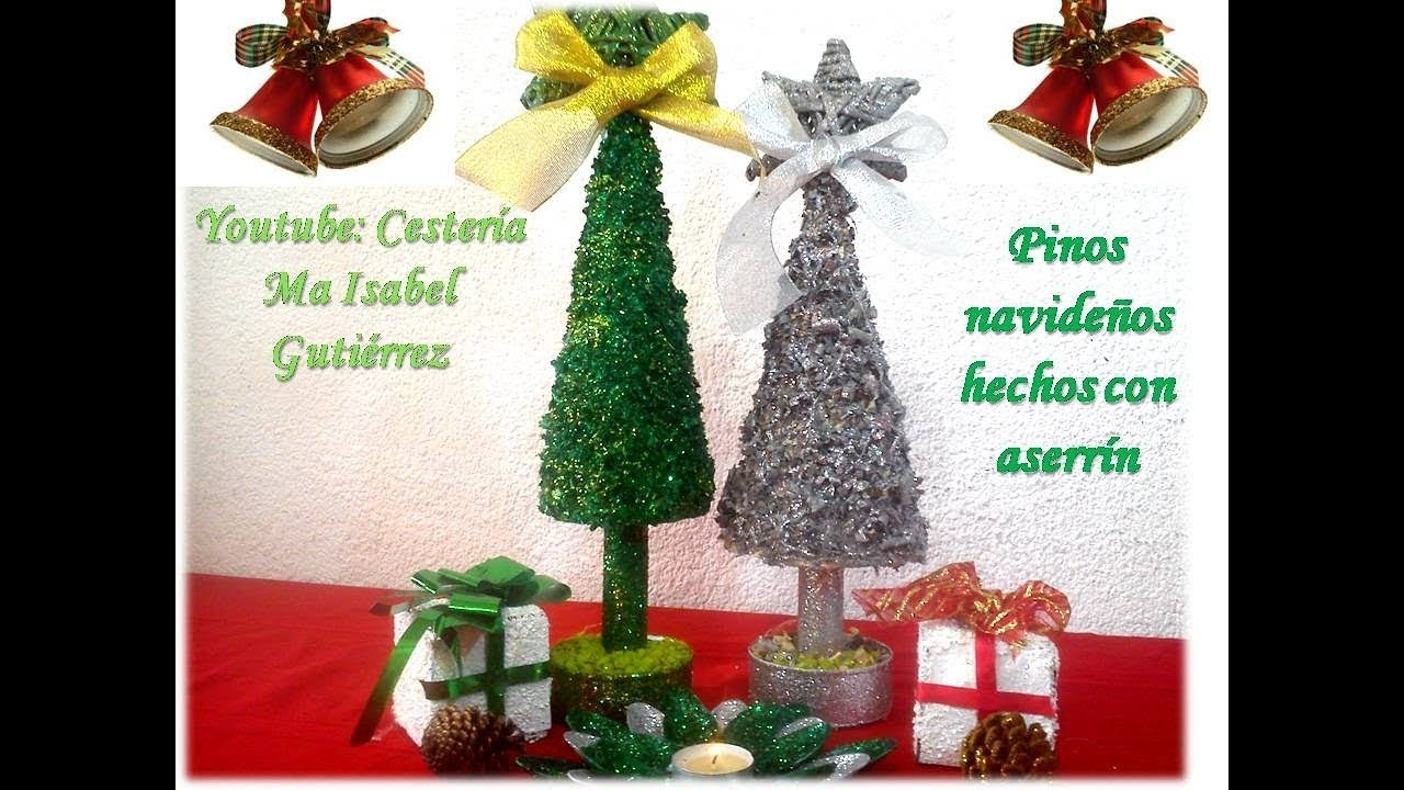 Como hacer un pino navideño con aserrín. DIY. How to make a Christmas pine with sawdust