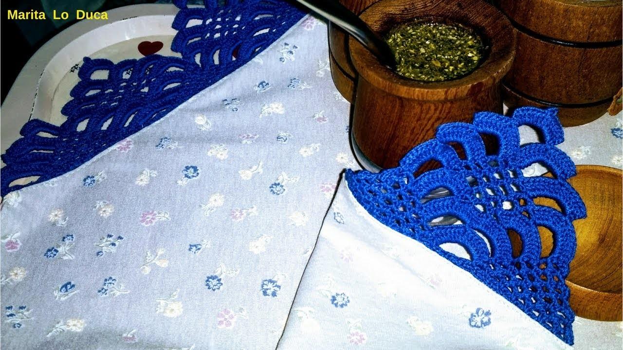 Cubrebandejas o mantel individual y servilleta de tela con puntilla a crochet | PARTE 2