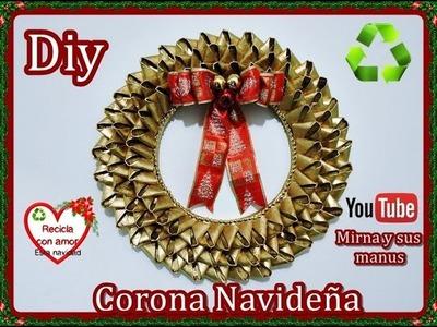 Decora en Navidad. Diy Corona Navideña con Tubos de Papel Higienico . Recycling Christmas Wreath