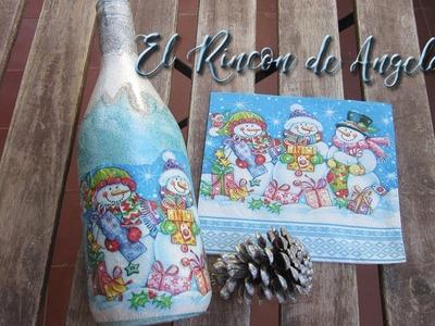 Decoracion navideña con decoupage en una botella de vino reciclada-Diy manualidades