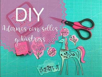 DIY ADORNOS con Sellos y Tintas DISTRESS