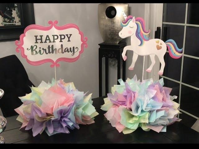 ????????????(DIY) Centros de mesa de unicornio ???? ????????( unicorn centerpiece for unicorn party????????)