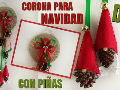DIY: COMO HACER CORONA DE NAVIDAD CON CUERDA Y PIÑAS | EASY PINECONE WREATH | SCANDINAVIAN GNOMES