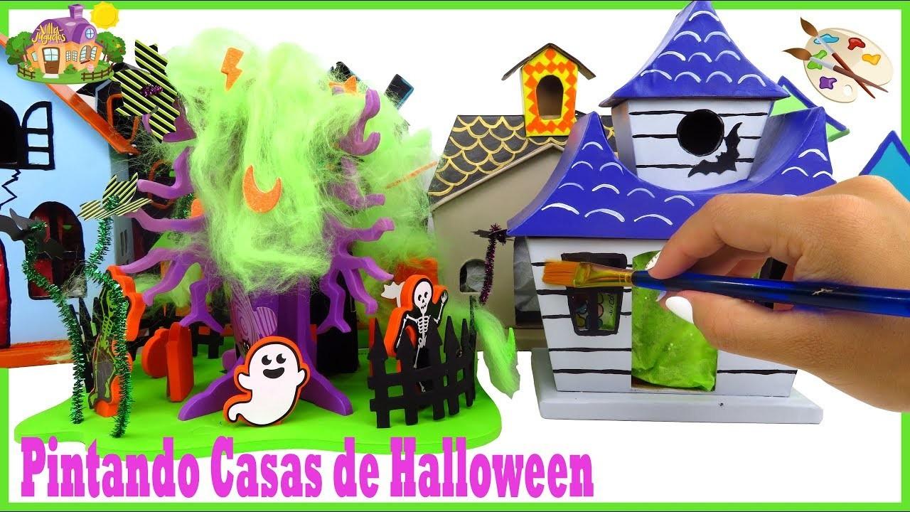 DIY Pintando Casas de Halloween para Fiesta de Muñequitas LOL