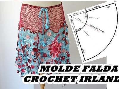 Falda en crochet irlandés paso a paso- Molde falda - Tejido Circulos