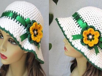 Hermoso Sombrero de Mujer Tejido a Crochet