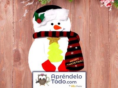 Manualidades: Cómo Hacer Un Hermoso Portacubiertos De Muñeco De Nieve