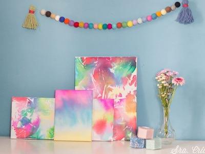 Manualidades con niños:  Cuadros hechos con papel de seda
