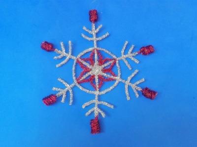 Manualidades Navideñas  (Copo de nieve con  limpiapipas) Adorno,decoración