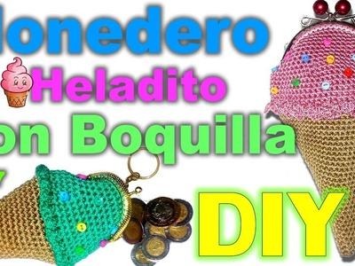 MONEDERO DE HELADITO CON BOQUILLA (CROCHET)