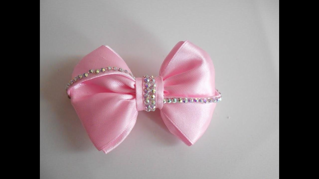 Moño para niñas con liston y brochet. how to make a hair bow