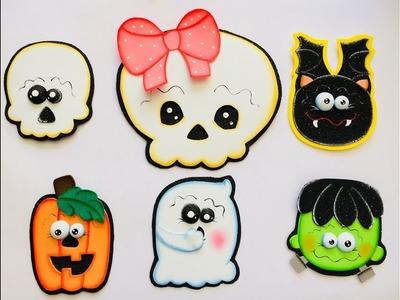 Muñequitos Halloween paso a paso - Craft DIY manualidad navidad en foamy.goma eva.microporoso