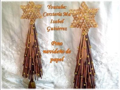 Pino navideño de papel. DIY. Christmas paper pine
