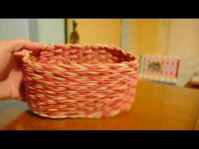 Tejido de cuerda en diagonal y columnas para cestería de papel.