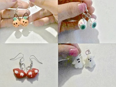 Tutorial Aretes para halloween. porcelana fria cold porcelain earrings