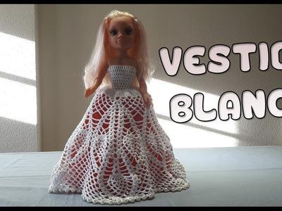 Vestido Blanco a crochet para muñeca Nancy