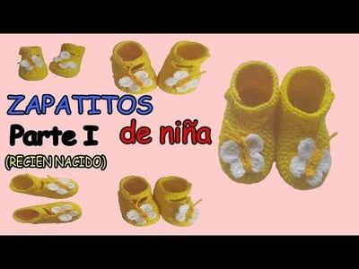 Zapatitos a crochet para niña, talla recien nacido Parte 1 (salida del hospital)