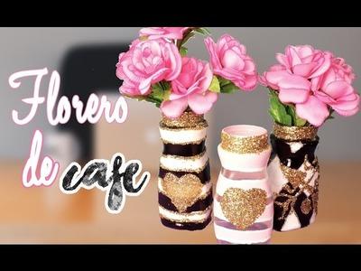 Floreros con FRASCOS de Café RECICLAJE.  Manualidades con Mariel Picazo