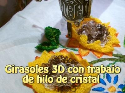 Girasoles 3D con trabajo de hilo cristal |Creaciones y manualidades angeles