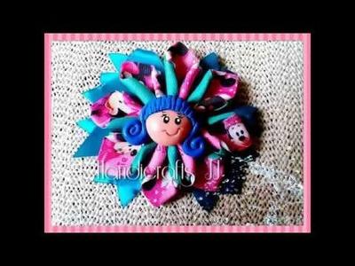 Como hacer moño con flor kanzashi de listón