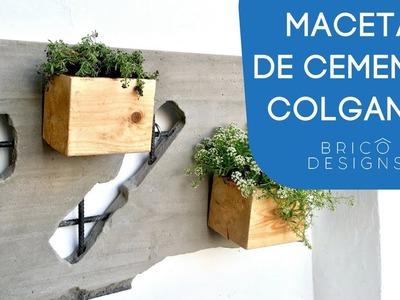 Como hacer una maceta de cemento colgante | DIY wall concrete hanger