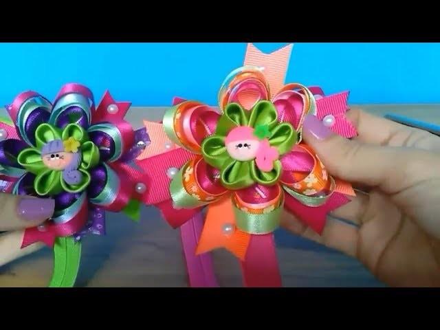 DIY Cintillo  para bebitas  con flor Kanzashi en cinta de razo