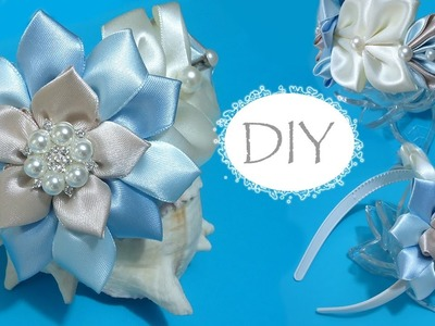 ????DIY nice headband for girls. Kanzashi for beginners. Vincha para el cabello, nivel principiantes.