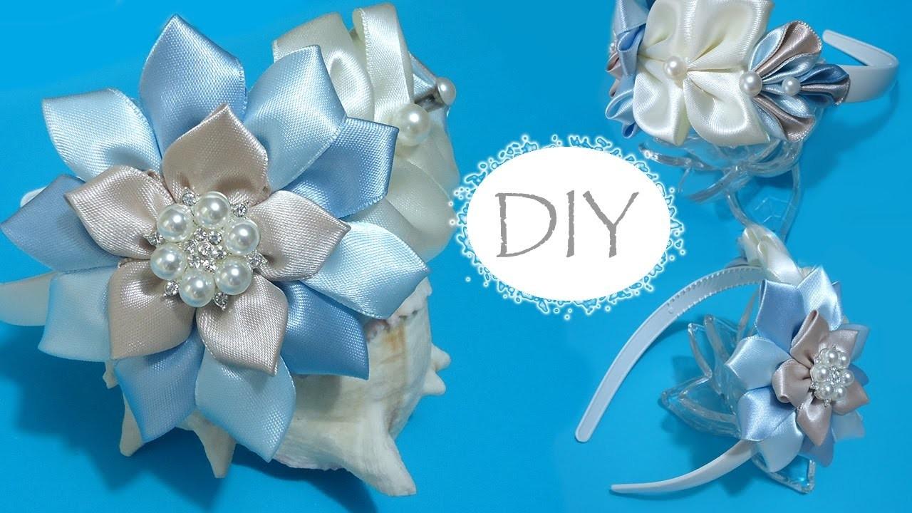 ????DIY nice headband for girls. Kanzashi for beginners. Vincha para el cabello, nivel principiantes.
