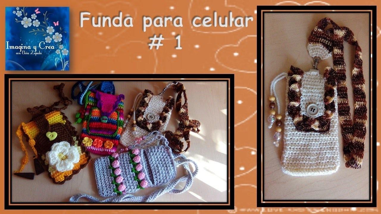 FUNDA PARA CELULAR en crochet  FUNDA  # 1