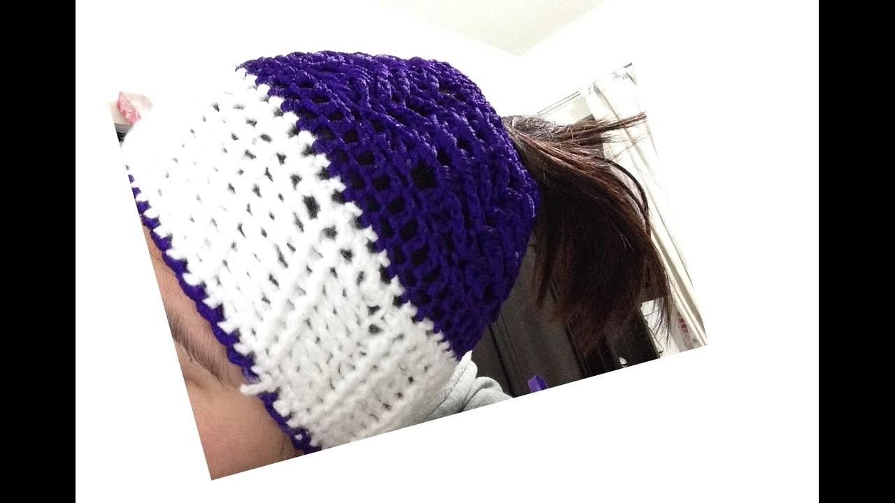 Gorro para cabello largo  Gorro de moda tejido a crochet  Messy Bun