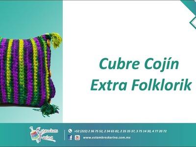 Manualidad regalo tejido fácil - cojín decorativo tejido con gancho Estambres Karina