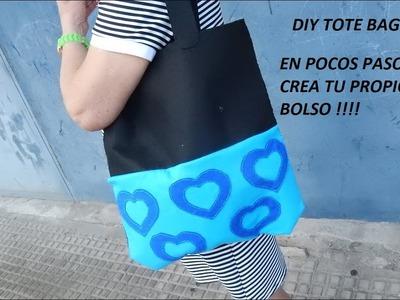 Manualidades: Como hacer un bolso.cartera estilo Tote Bag paso a paso