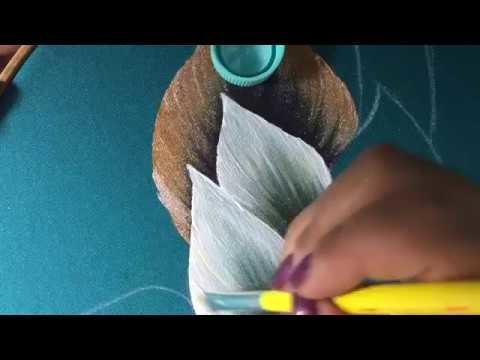 Pintura En Tela Nochebuenas Blancas # 1 Con Cony