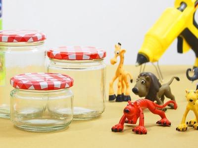 Tarros de cristal decorados con animales. Manualidades fáciles para regalar.