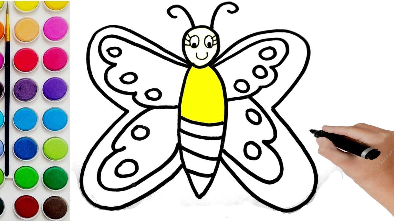 Como Dibujar Y Colorea Una Mariposa . Dibujos Para Niños