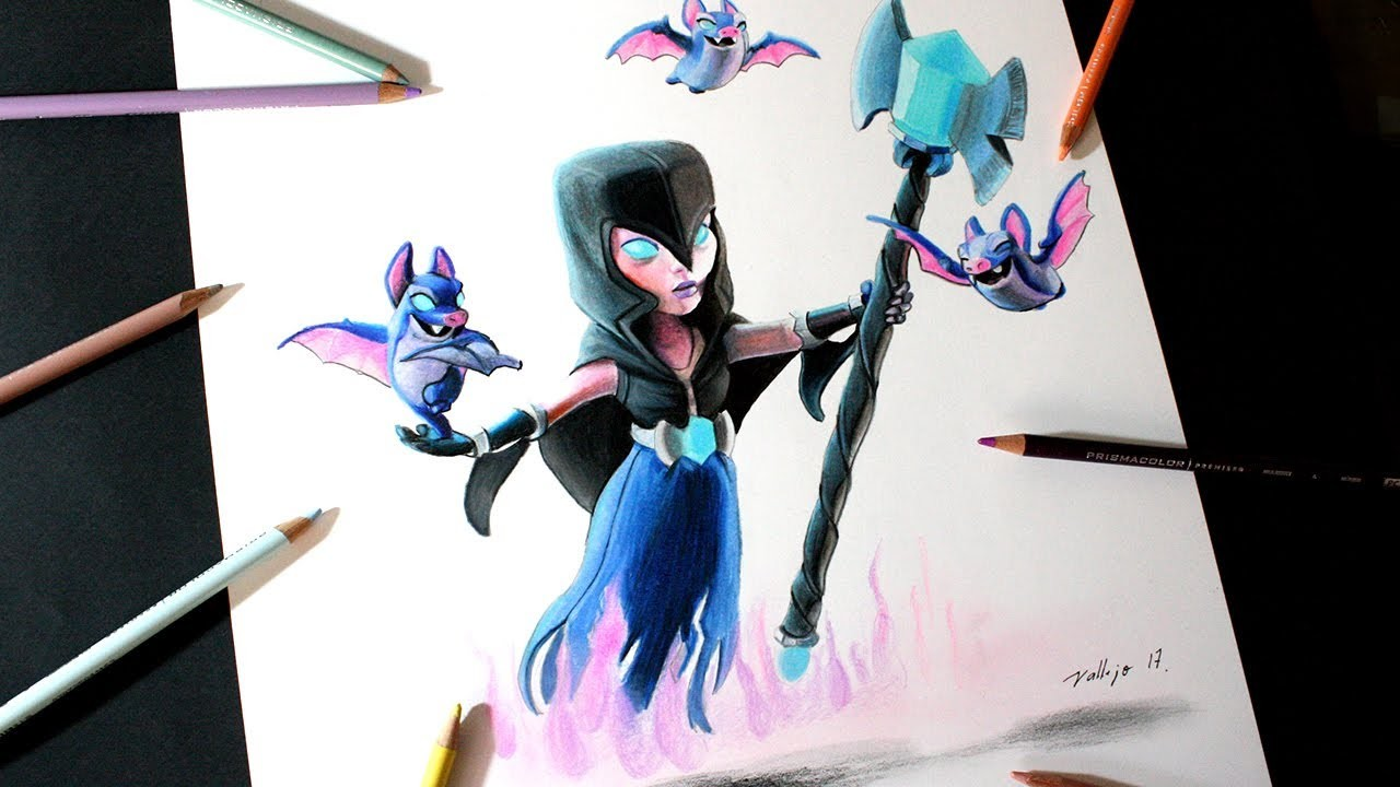 Como Dibujo A La Bruja Nocturna De Clash Royale How To Draw Night Witch