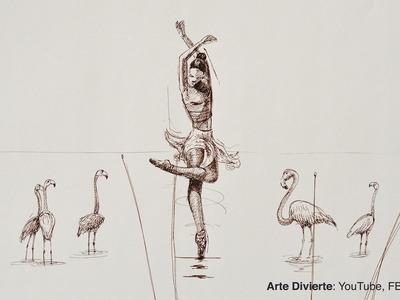 Cómo hacer una boceto - Bailarina (surrealista) con pluma fuente